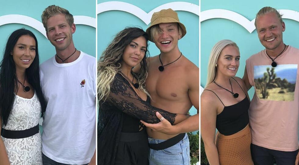FANT KJÆRLIGHETEN: Det er tre par igjen i TV3-programmet «Love Island», og alle hevder at de er like forelsket. Torsdag får vi vite hvem av dem som stikker av med seieren. Foto: TV3