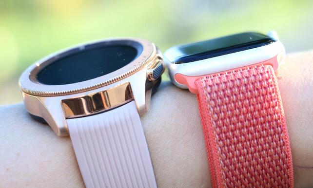 SLANKERE: Apple Watch Series 4 er tynnere enn Samsung Galaxy Watch. Den føles heller ikke like tung å ha på. Foto: Kirsti Østvang