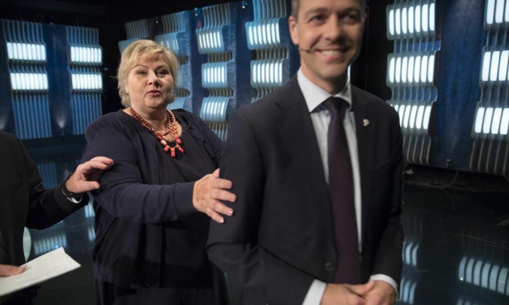 DEN GANG DA: Statsmnister Erna Solberg og KrF-leder Knut Arild Hareide i lykkeligere tider. Foto: Vidar Ruud / NTB scanpix
