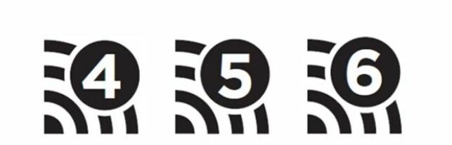 SLIK BLIR MERKINGEN: Tallet til høyre på oppkoblingen, angir hvilken standard den bruker. Illustrasjon: Wi-Fi-alliansen.