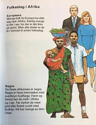 I folkeslagsforklaringen blir europeere illustrert ganske annerledes enn de andre folkeslagene. Foto: Camilla Hjelmeseth.