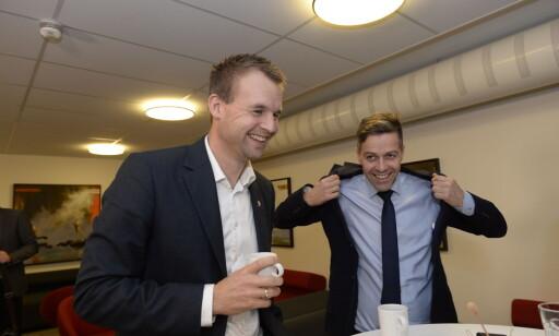 TVISYN: Nestleder Kjell Ingolf Ropstad og partileder Knut Arild Hareide argumenterte for hver sitt syn under møtet med grasrota i Agder. Foto: John Terje Pedersen / Dagbladet