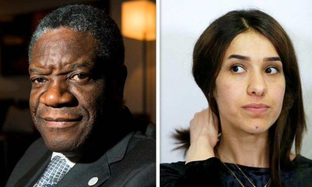 Den kongolesiske legen Denis Mukwege og Nadia Murad tildeles årets fredspris.  FOTO: FREDRIK VARFJELL/FRANCOIS LENOIR/NTB SCANPIX/REUTERS.