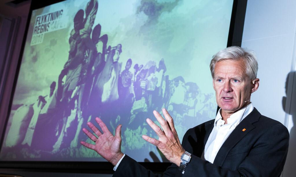 FORNØYD: - Dette er en lenge etterlengtet pris, sier Jan Egeland, generalsekretær i Flyktninghjelpen. Foto: Heiko Junge / NTB scanpix