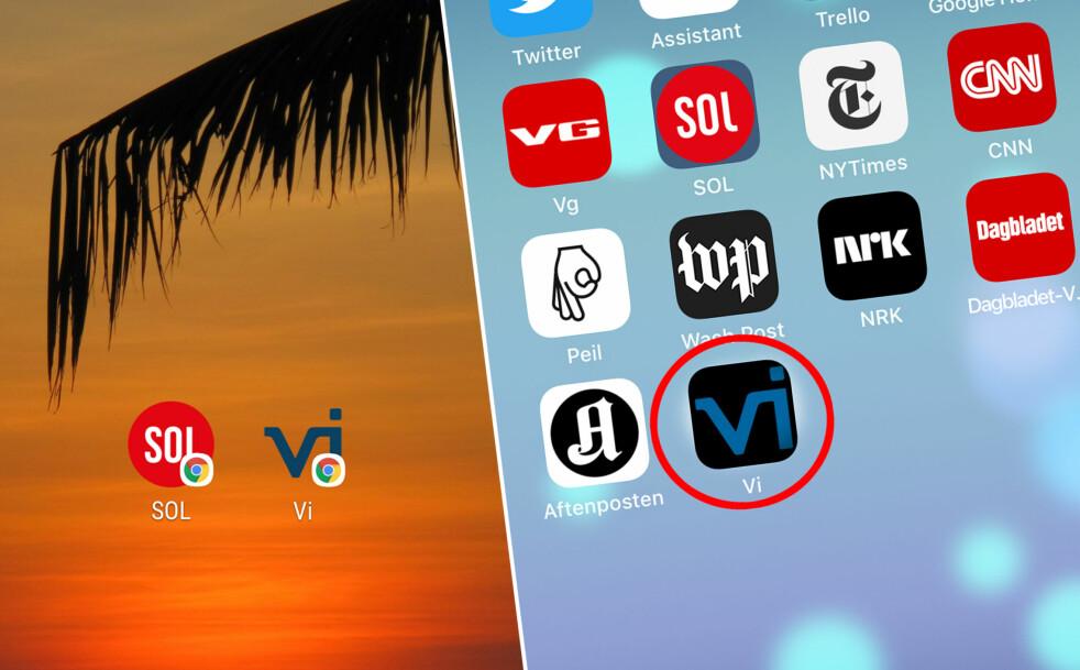 JUKSE-APP: Det ser ut som en app, men er bare en snarvei til favorittnettsidene dine. Her viser vi deg hvordan du legger de til på telefonen din. Foto: Skjermdump
