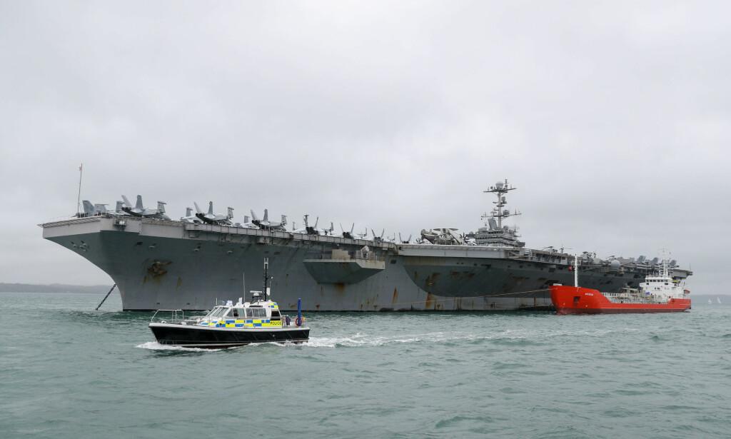 TIL NORGE: Det amerikanske hangarskipet USS Harry S. Truman blir med i NATOs storøvelse Trident Juncture i Norge. Foto: PA photos/NTB Scanpix