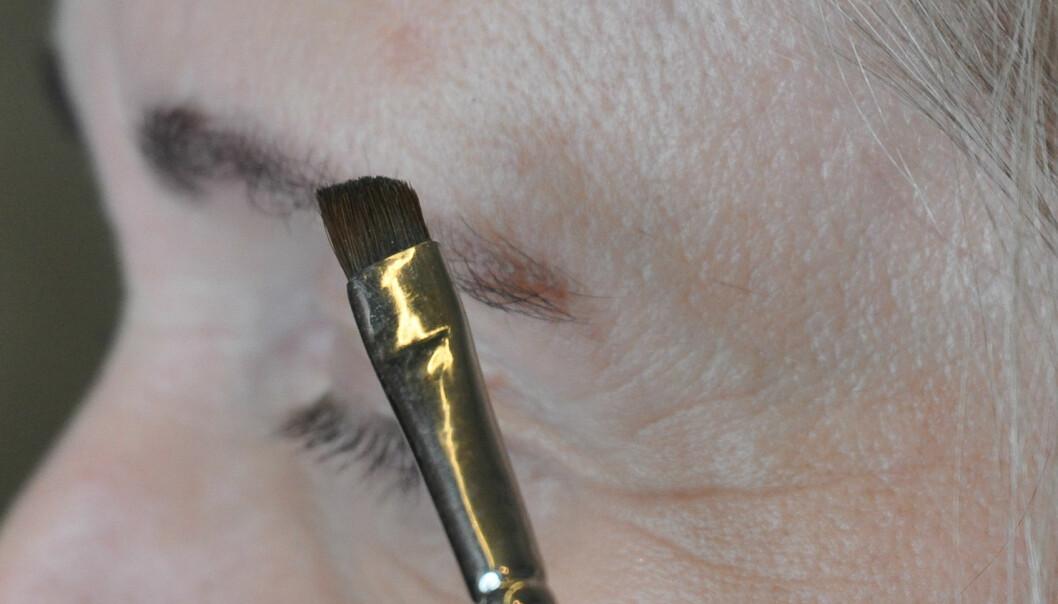 <strong>KOST:</strong> Bruk kost til å fargelegge brynene. Foto: Jartrud Høstmælingen