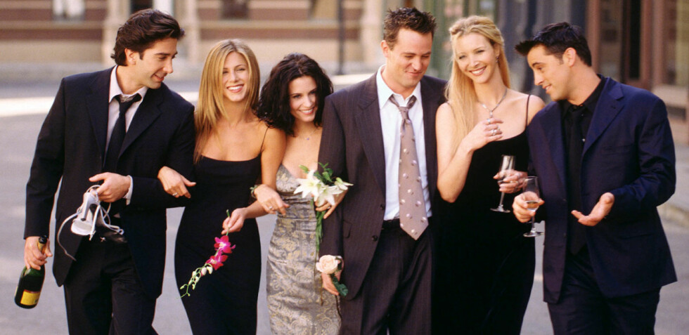 GODGJENGEN FRA 90-TALLET: «Friends» utgjorde sekserbanden Ross Geller (David Schwimmer), Rachel Green (Jennifer Aniston), Monica Geller (Courteney Cox), Chandler Bing (Matthew Perry), Phoebe Buffay (Lisa Kudrow) og Joey Tribbiani (Matt LeBlanc). Serien gikk sin seiersgang fra 1994 til 2004. FOTO: NTB Scanpix