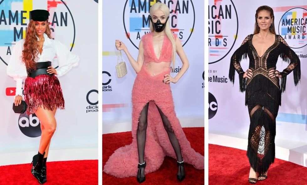KJOLESLAKT: Tyra Banks, Poppy og Heidi Klum var blant dem som høstet kritikk for sitt antrekk under årets American Music Awards natt til onsdag. Foto: NTB Scanpix