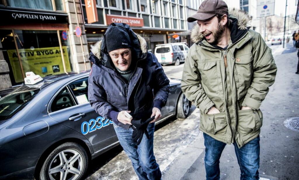 HYLLER KAMERATEN: Christer Modin og Petter Nyquist ble gode venner under tv-innspillinga. Foto: Christian Roth Christensen/Dagbladet