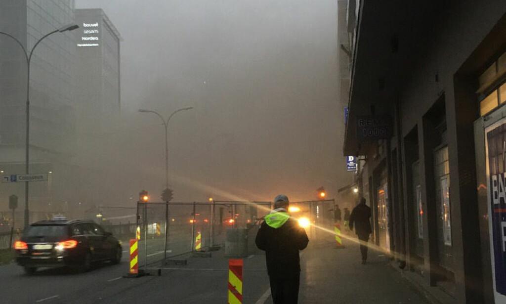 BRENNER I RESTAURANT: Det brøt torsdag morgen ut en brann i en restaurant på Majorstua i Oslo. Foto: Katinka Sletten
