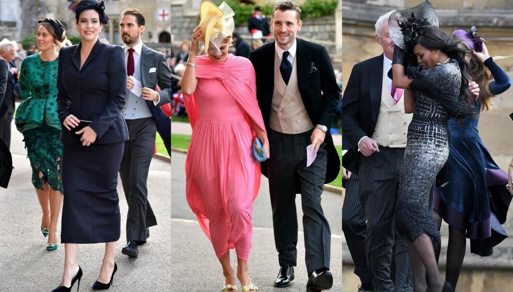 <strong>MYE VIND:</strong> Bryllupsgjestene til prinsesse Eugenie og Jack Brooksbank måtte kjempe mot vinden da de ankom kapellet i Windsor. I midten ser man kjendisdatter Pixie Geldof, flankert av Liv Tyler og Naomi Campbell. Foto: NTB scanpix