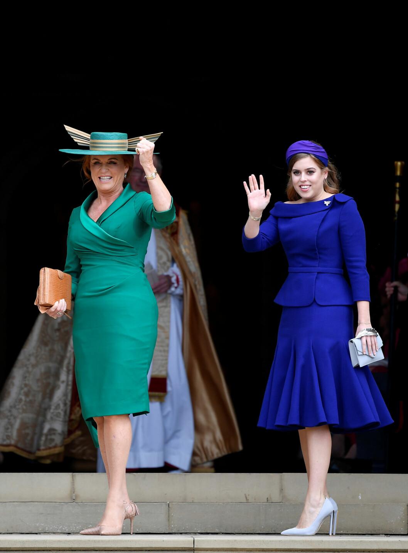 KONGELIG BRYLLUP: Brudens mor Sarah Ferguson og søster prinsesse Beatrice. FOTO: NTB Scanpix