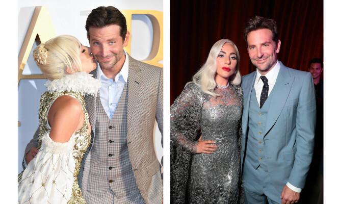 GODE VENNER: Lady Gaga og Bradley Cooper hadde en helt spesiell kjemi under filmopptak, og er blitt nære venner etter innspillingen. Her fra «A Star Is Born»-premiere i Los Angeles (t.h.) og London i september. FOTO: NTB Scanpix