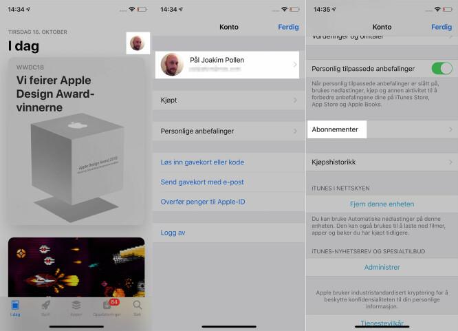 <strong>SJEKK ABONNEMENTENE:</strong> Trykker du som omtalt over (og under) kan du se om du har noen aktive app-abonnementer på iPhone. Skjermbilde: Pål Joakim Pollen