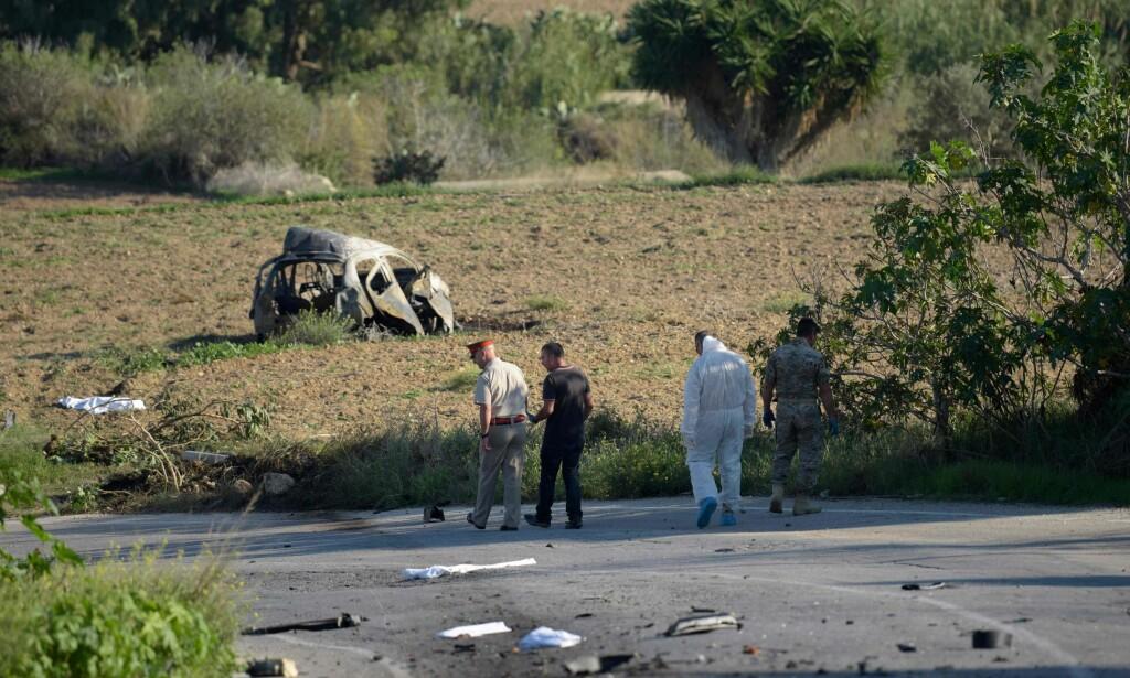 DREPT: Journalisten Daphne Caruana Galazia ble drept med ei bilbombe for ett år siden. Foto: AFP PHOTO / NTB scanpix
