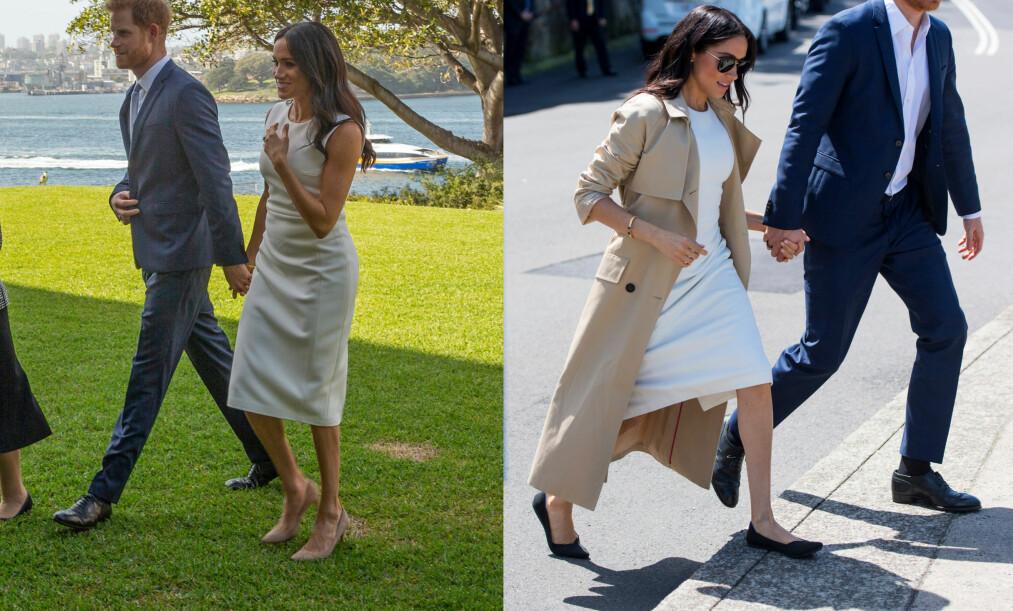 OVERRASKENDE BYTTE: Hertuginne Meghan valgte å bytte fra sine beige, høye hæler, til et par med flate sko. Dette er første gang hun viser seg i lave sko i perioden som hertuginne, men det er ikke bare derfor skoskiftet nå skaper overskrifter. Foto: NTB scanpix