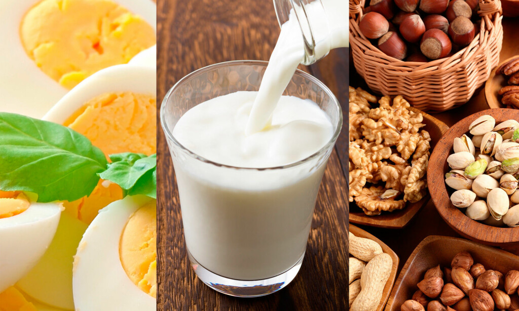 VANLIGE ALLERGIER: Allergi mot egg, melk, nøtter og fisk er noen av de vanligste matvareallergiene hos barn. Foto: NTB Scanpix/Shutterstock.