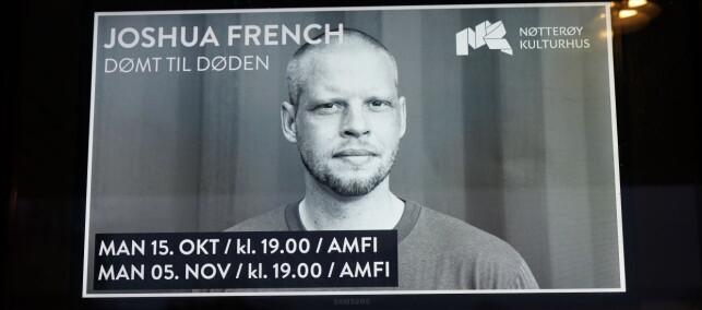 TO FULLE HUS: Utsolgt på Nøtterøy Kulturhus og i Drammen Teater på de to første foredragene til Joshua French. Foto: John Terje Pedersen, Dagbladet.