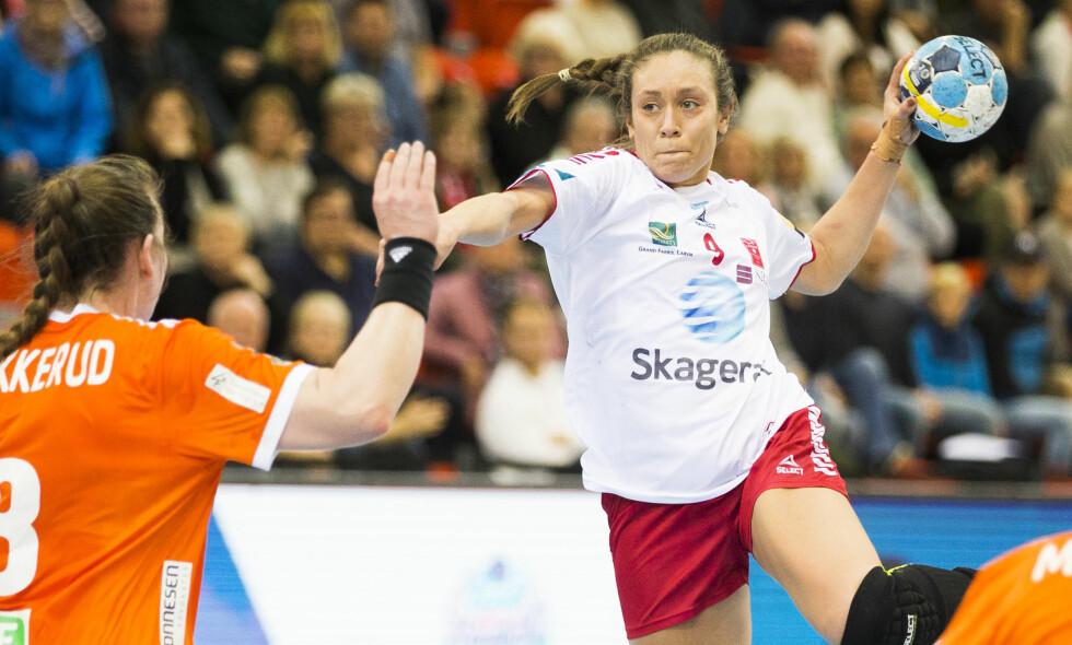 Larviks Mathilde Toft Rivas i Champions League kampen i håndball for kvinner mellom Larvik og Odense i Boligmappa Arena i Larvik. Foto: Teigen, Trond Reidar / NTB scanpix