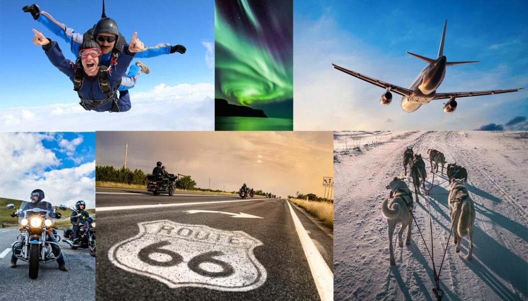 DRØMMER: Fallskjerm, nordlys, reise, motorsykkel- og biltur, og hundekjøring var noen av drømmene som ble sendt inn. Alle foto: Shutterstock.