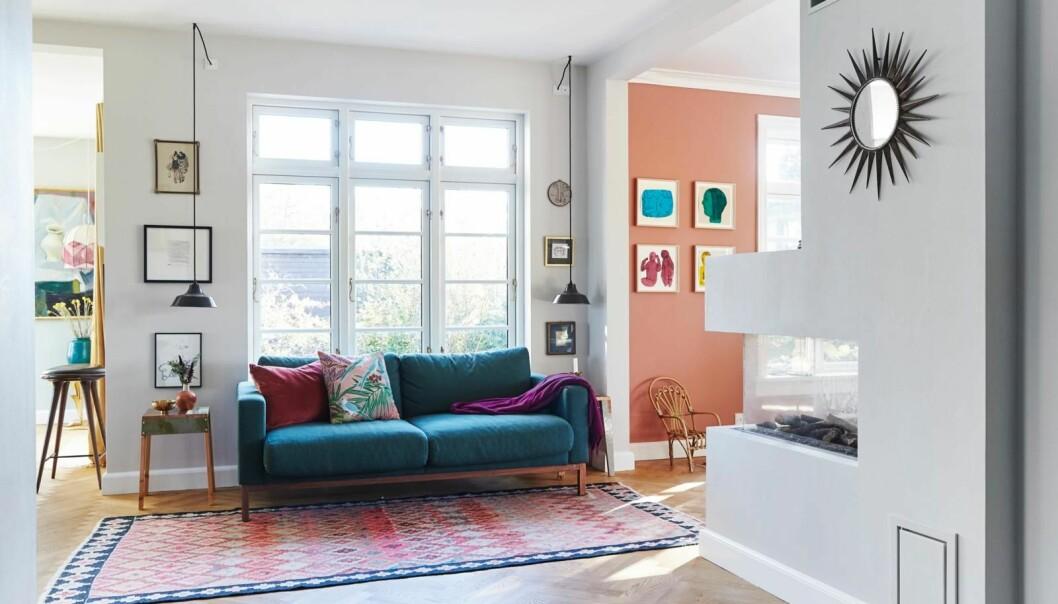 Fie forvandlet en gammel villa om til et moderne hjem med farger, kunstskatter og håndplukket interiør