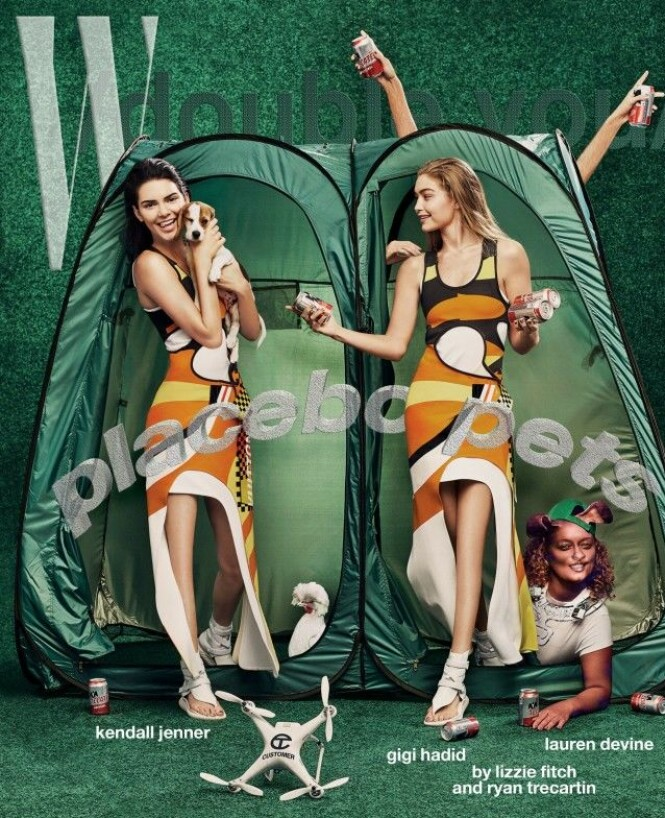 KNELØSE: Kendall Jenner og Gigi prydet forsiden av W Magazine sin kunstutgave. Det etter mye retusjering, som blant annet har sørget for at knærne deres har forsvunnet. Faksimile: W Magazine