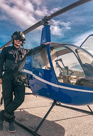 PILOT: Jørgen studerer for tiden for å bli helikopterpilot. Foto: Privat