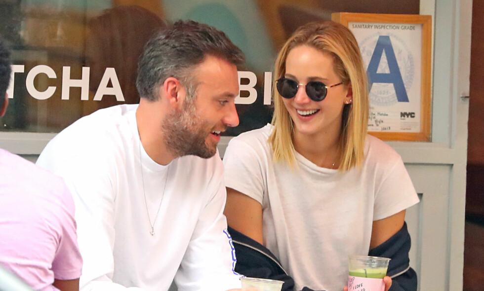 ENDELIG: Det har i flere måneder blitt spekulert på at Jennifer Lawrence har funnet lykken med Cooke Maroney. Tidligere denne måneden viste turtelduene seg endelig sammen. Foto: NTB scanpix