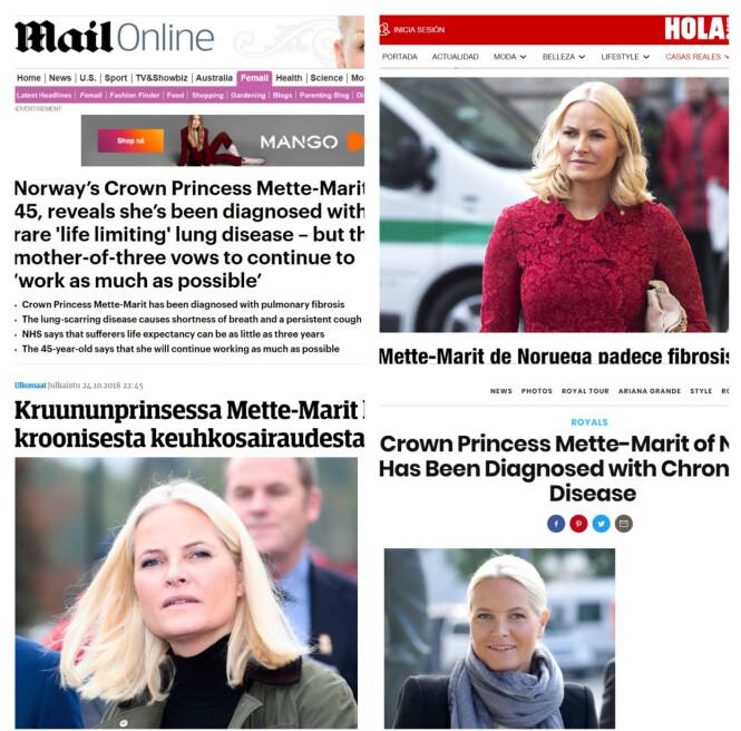 OVERSKRIFTER: Kronprinsesse Mette-Marit har skapt store overskrifter i utlandet etter sykdomsavsløringen. Foto: NTB Scanpix