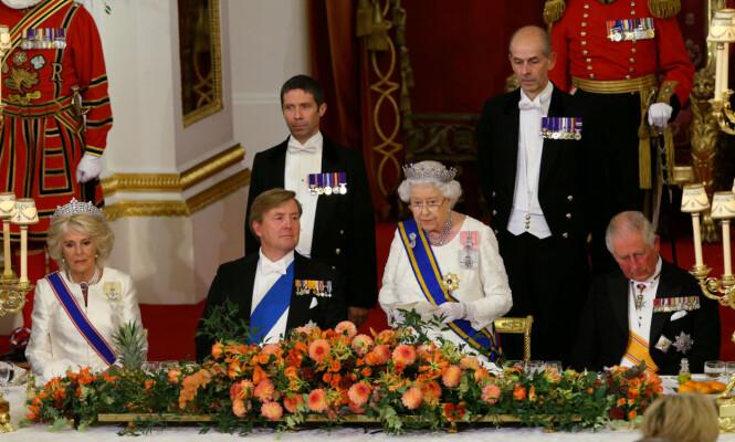 <strong>VERT:</strong> Dronning Elizabeth var tidligere denne uken vert da kongeparet av Nederland var på besøk. Hertuginne Camilla sitter her ved siden av kong Willem-Alexander. Foto: NTB scanpix