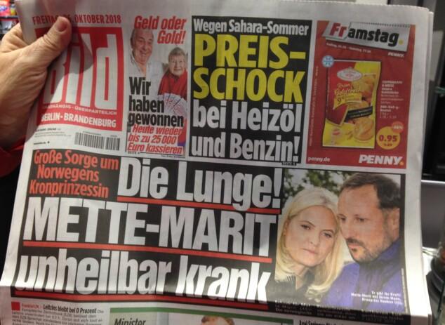 OPPSLAG: I den tyske avisen Bild havnet kronprinsparet på forsiden. Foto: Øystein Andersen