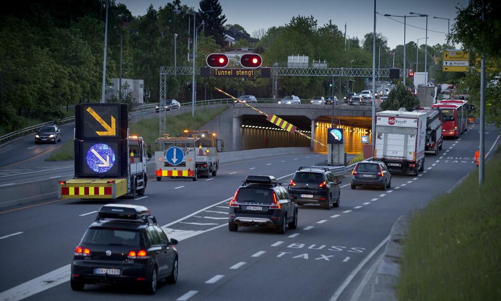 2015: 1. juni ble Smestadtunnelen på Ring 3 stengt. Det var forventet køkaos, men folk valgte andre ruter og transportmidler, og dermed ble det aldri noe stort problem. Foto: Bjørn Langsem / Dagbladet