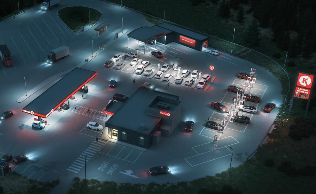 <strong>ENERGISTASJONER:</strong> Slik ser Circle K for seg at fremtidens stasjoner vil se ut. Foto: Illustrasjonsfoto/Circle K