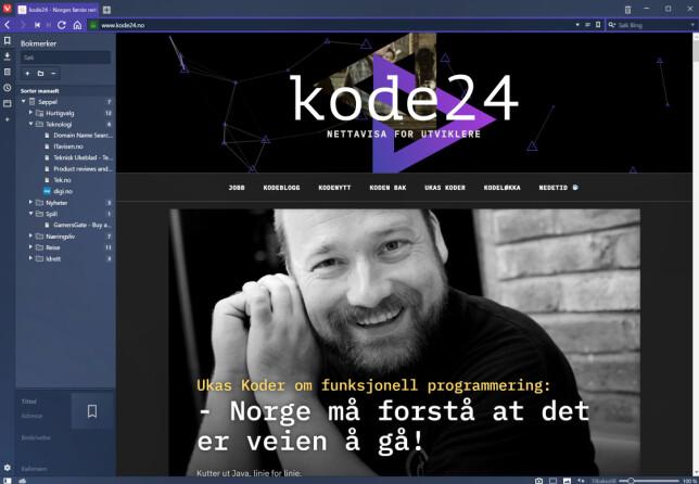 kode24 i Vivaldi-nettleseren. 📸: Jørgen Jacobsen