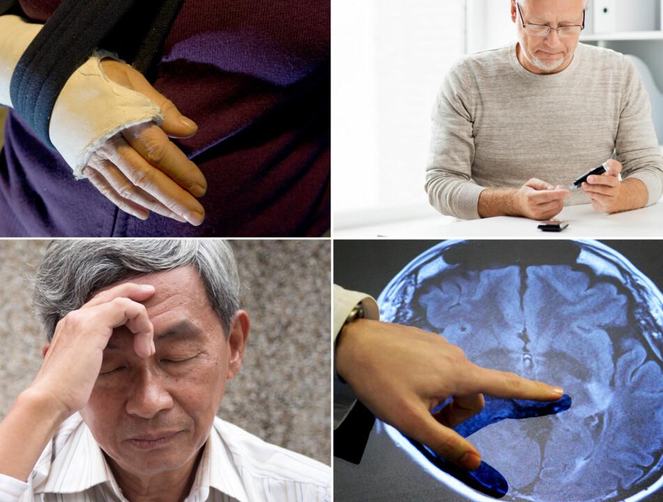 UTSATT: Jo eldre vi blir, desto mer utsatt er kroppen vår for å utvikle sykdommer. Benskjørhet, Diabetes type 2, Alzheimers og hjerneslag er blant de vanligste. Alle foto: NTB Scanpix