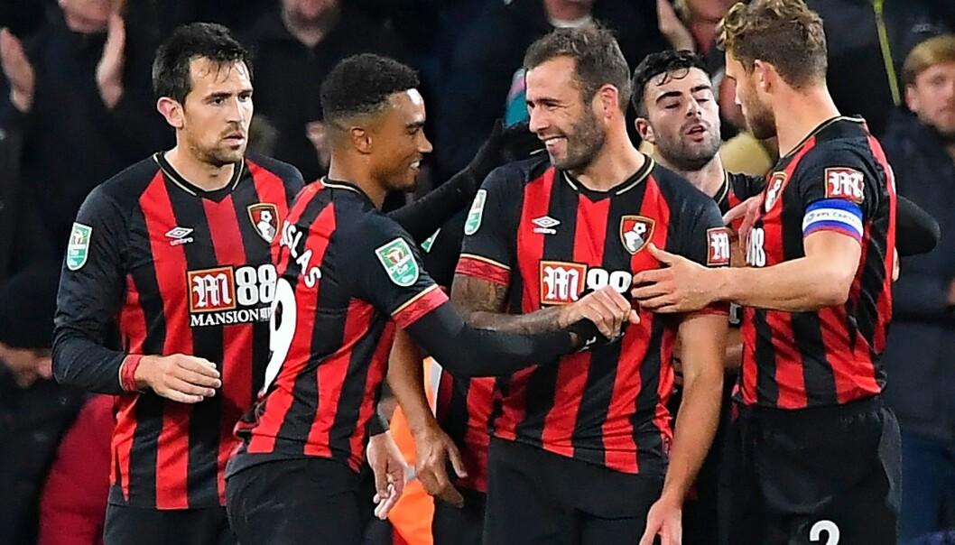 <strong>GREIT VIDERE:</strong> Bournemouth er klar for ligacup-kvartfinale etter 2-1 mot Norwich. Foto: TGSPHOTO/REX/SHUTTERSTOCK