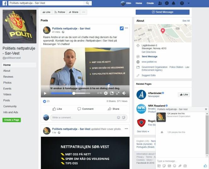 <strong>NY PATRULJE:</strong> Slik ser Facebook-siden til Sør-Vest politidistrikts nettpatrulje ut. Foto: skjermdump.
