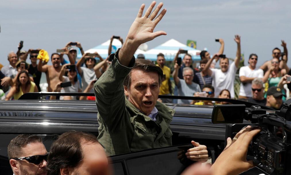 <strong>I SPILL:</strong> Presidentalget i Brasil søndag har konsekvenser også for oss i Norge, skriver innsenderen. Her er valgvinneren Jair Bolsonaro. Foto: Ricardo Moraes / Reuters / NTB Scanpix