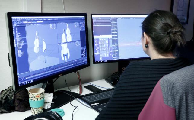 Artistene kan jobbe med 3D-modeller og animasjoner i programmer som Maya, og sy alt sammen i spillmotoren Unity. 📸: Ole Petter Baugerød Stokke