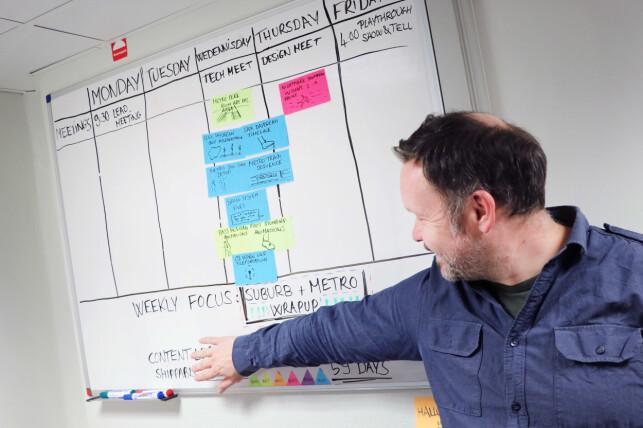 Jon Cato Lorentzen driver utviklingen av Mosaic etter Scrum-modellen. Men det er ikke alt vi får lov å ta bilder av. 📸: Ole Petter Baugerød Stokke