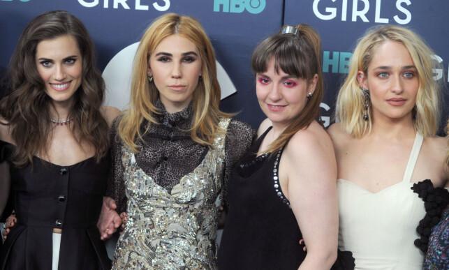TV-STJERNER: Allison Williams (t.v), Zosia Mamet, Lena Dunham og Jemima Kirke spilte de fire hovedrollene i suksess-serien «Girls». Foto: NTB scanpix