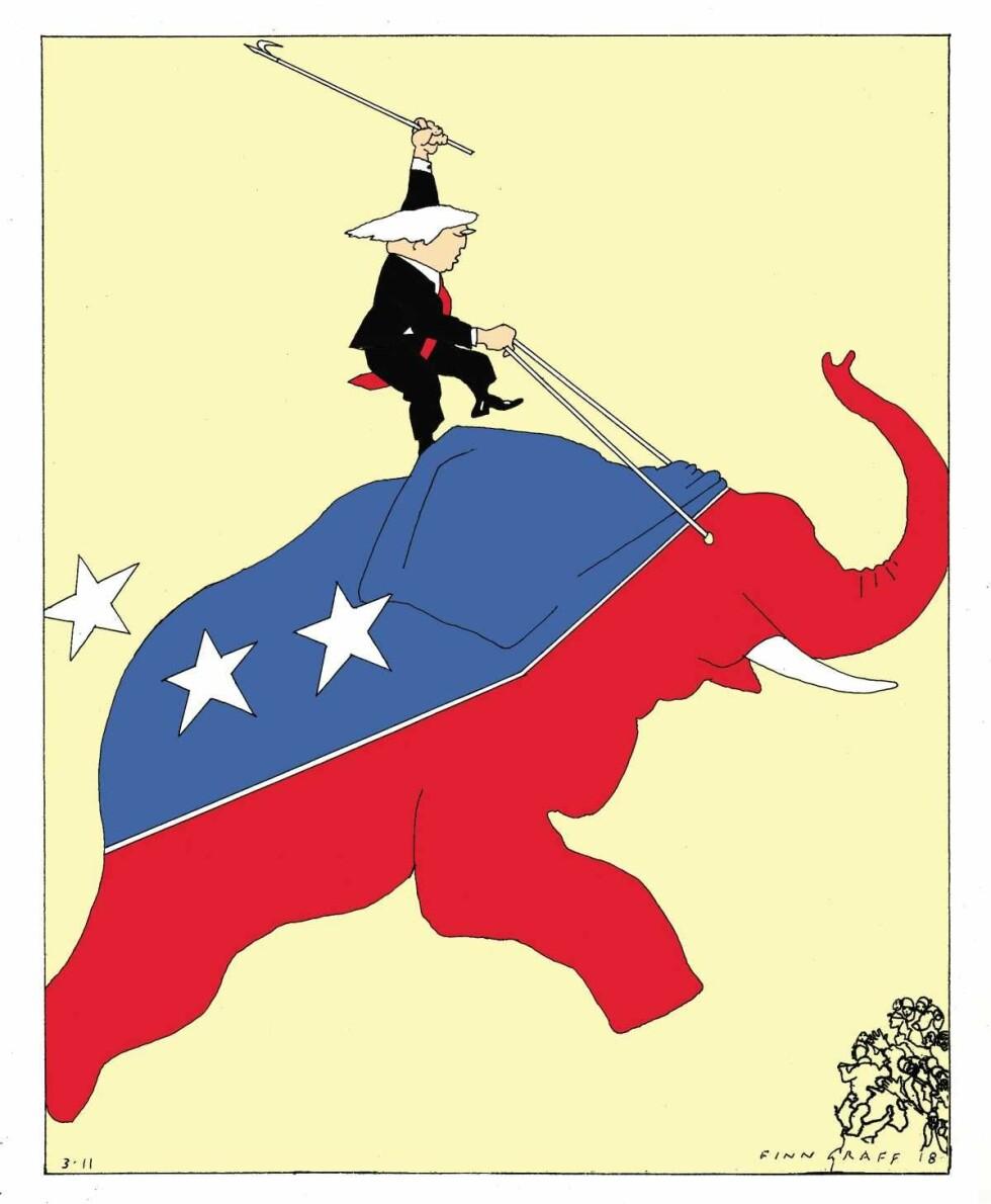 FØR MELLOMVALGET: President Donald Trump. Tegning: Finn Graff