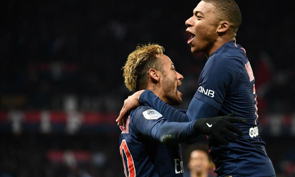 SCORET: Superstjernene Neymar og Kylian Mbappé fikset biffen for PSG fredag kveld. Foto: FRANCK FIFE / AFP