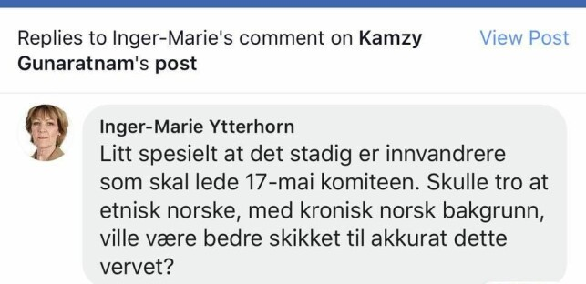 MOTBØR: Inger-Marie Ytterhorn slaktes - også av sin egen leder - for dette utspillet.