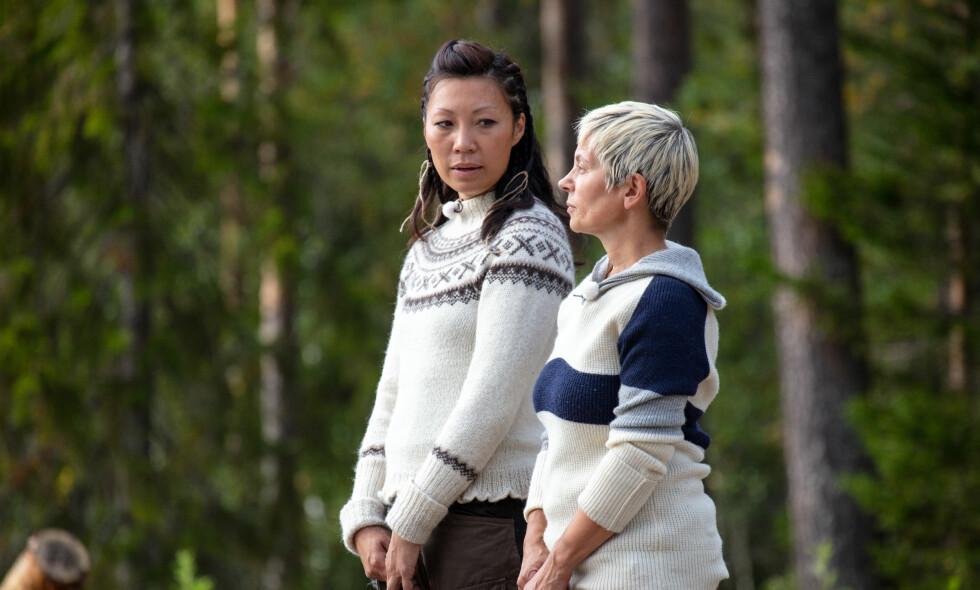 UTE AV «FARMEN»: Det gikk ikke helt veien for Sølvi Monsen da hun møtte Irene Halle til tvekamp søndag kveld. Foto: Alex Iversen / TV 2