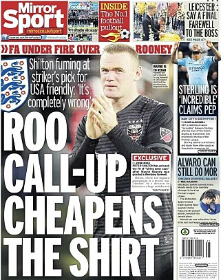 Comments WEEKS: Experts believe Wayne Rooney's comeback reduces the English dragon. Here is the Daily Mirror newspaper today.