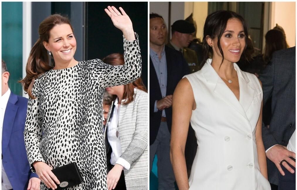 KORTE KJOLER: Både hertuginne Kate og hertuginne Meghan går nye veier under graviditeten. Foto: NTB Scanpix
