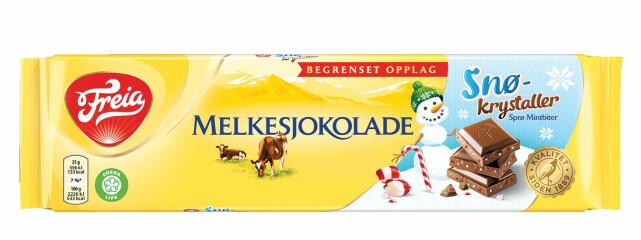 BEGRENSET OPPLAG: Melkesjokolade med sprø mintbiter.