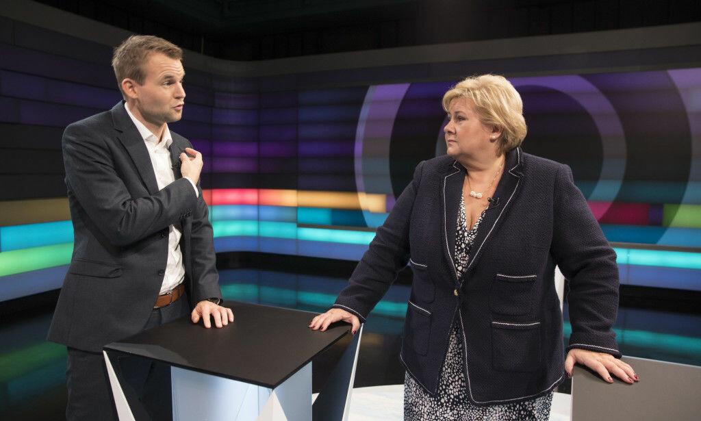 VET DE ELLER VET DE IKKE: Det eneste som er tvilsomt i debatten om abortloven, er hvorvidt statsminister Solberg og helseminister Høie lyver, eller om de bare ikke har satt seg inn i lovbestemmelsen, og derfor bare ubevisst snakker usant, skriver innsenderen. Her Kjell Ingolf Ropstad (KrF) og statsminister Erna Solberg i debatt i NRk fredag. Foto: NTB Scanpix